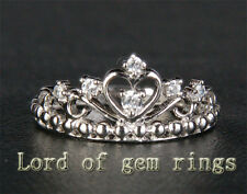 Unique Crown Diamonds Solid 14k White Gold Wedding Band Engagement Promise Ring