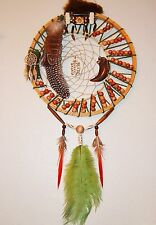 Native American Dream Catcher, Double Ring, Fur, Feather, Turtle, Cow Bone, USA
