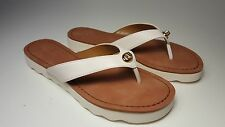 $98 size 7 Coach Shelly Semi Matte Calf  Chalk Leather Thong Flip Flop Sandals
