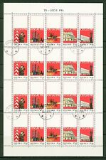 Poland 1969: Cancelled Sheet #1665-69; 4 Rows, 5 Stamps,Folded Center -Lot#11/30