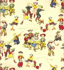 LITTLE BUCKAROOS RETRO GIFT WRAPPING PAPER -One 30 In x 5 Ft Folded Sheet