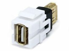 USB 2.0 A Female to A Female White Keystone Jack,  CablesOnline WP-C15WH
