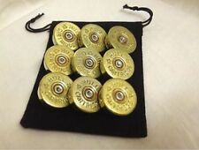 FOR FATHERS DAY 8 x Shotgun 12g Brass Sew On buttons Military Steampunk Costume