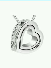 Fashion Womens Silver Heart Crystal Pendant Chain Necklace VALENTINES DAY