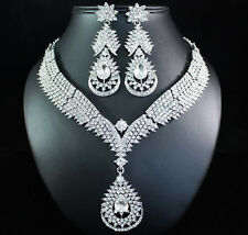 DROP CLEAR AUSTRIAN RHINESTONE CRYSTAL BIB NECKLACE EARRINGS SET BRIDAL N1621C