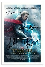 THOR 2 THE DARK WORLD CAST X4 SIGNED PHOTO PRINT CHRIS HEMSWORTH TOM HIDDLESTON