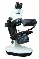 Professional Gem Testing Gemology LED Darkfield Zoom Stereo Microscope w Clamps