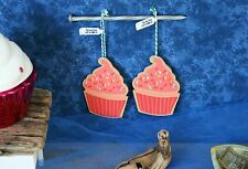 CRATE & BARREL CUPCAKE ORNAMENTS (2) -NWT- HANG AROUND WITH SOME TASTY DÉCOR!