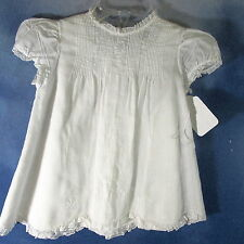 DQ-Vintage hand made in Philippines doll baby dress + slip scalloped hem 3-6 mo