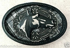 Equestrian black Horse Head gray plaid oval Handmade belt buckle NEW 4 x 2.75""