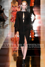 $2,650 GUCCI DRESS BLACK SILK CAPE LONG SLEEVES OPEN FRONT DEEP V-NECKLINE sz 42