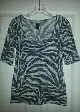 Rue 21 Black, White and Gray Animal Print Sheer Top in Junior's size M  GUC
