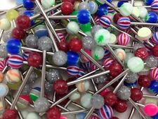 "Lot Of 100 Mixed Tongue Rings Straight Barbells 14 Gauge 5/8""-16mm"