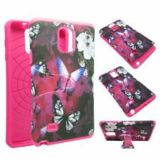 For Samsung Galaxy Note 4 White Flower Butterfly Case Cover Hybrid TPU TUFF Kick