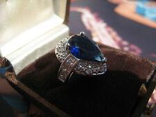 Vintage imposant edler barocker silberner Ring 925 Herz Saphir ? Brillannten ?