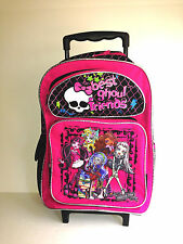 "Monster High Large 16"" Rolling Backpack - Pink Glitter Best Ghoul Friend"