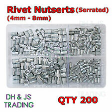 Assorted Box of Rivet Nutserts (Serrated) 4mm 5mm 6mm 8mm Rivet Nuts Qty 200
