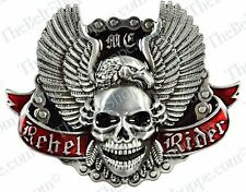 Rebel Rider Eagle & Skull Motorcycle Metal Belt Buckle - Brand New - U.S. Seller