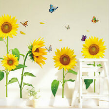 Yellow Sun Flowers & Butterfly Removable Wall Sticker Kids Hoom Living Room New