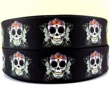 "BTY 1"" Night Of The Living Dead Skulls Grosgrain Ribbon Hair Bows Scrapbook Lisa"