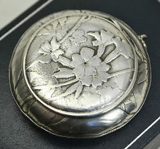 Antique HUGUENIN Solid Silver PILL POT for Chatelaine - COWSLIP FLOWERS Engraved