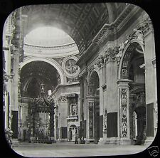 Glass Magic Lantern Slide INTERIOR OF ST PETERS ROMA C1890 ROME THE VATICAN