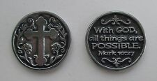 x With God all things are possible Cross POCKET TOKEN CHARM