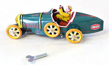 """SCHYLLING TIN PLATE BUGATTI RACING CAR  MECHANICAL WIND UP  BOXED 8"""" INCH GREEN"""