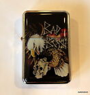 Flip top Refillable Lighter motorcycle Style Artistic American Eagle Skull Bad