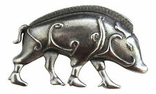 Unusual Pictish Boar / Pig Scarf Brooch Pin in Polished Two Tone Pewter