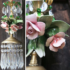 1 Porcelain Capodimonte Pink Shabby Rose Brass tole chandelier Swag vintage lamp
