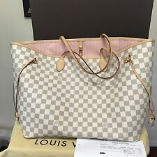 Authentic Louis Vuitton Neverfull GM Damier Azur Rose Ballerine DA