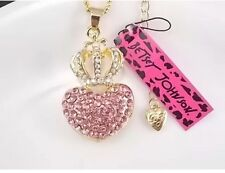 Cute NWT Betsey Johnson Necklace Gold Pink Heart Crown Crystals