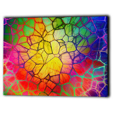 Abstract Design Multi-Colour Canvas Framed - Rare Wall Art Print - Ready To Hang