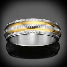 New Struttura Men's Two-Tone Stainless Steel Etched Ring ~ Size 8