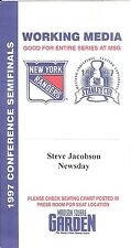 NY Rangers 1997 Conference Semi Finals Stanley Cup Media Press Pass Ticket MSG