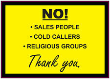 No! froid callers-vente people-Religious groupes-signe/autocollant/vinyle porte