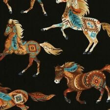 Timeless Treasures Out West C5036 Black Horses BTY COTTON Fabric Free US Ship.