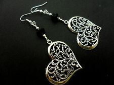 A PAIR OF  TIBETAN SILVER BIG HEART THEMED  DANGLY  EARRINGS. NEW.