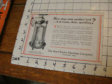 Original Vintage paper:1939 KARL KIEFER MACHINE CO. card w/ 1 1/2 cnet stamp