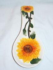 NEW CERAMIC YELLOW SUNFLOWERS KITCHEN STOVE TOP SPOON REST HOLDER STOVE