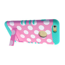 For iPhone 6 Plus / 6S Plus - HYBRID HIGH IMPACT ARMOR CASE PINK BLUE POLKA DOTS