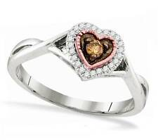 100% 10K White Gold Chocolate Brown Solitaire & White Diamond Heart Ring .14ct