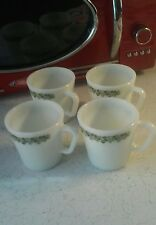 Pyrex Corning 4 Vintage Crazy Daisy Coffee Tea Mugs