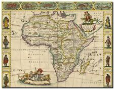 """Vintage Illustrated Old World Map of Africa and tribes CANVAS PRINT 16""""X12"""""""