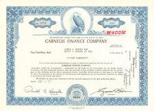 Carnegie Finance Company   1972 Ohio stock certificate share
