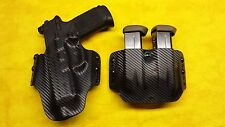 HOLSTER COMBO BLK CARBON FNX-45 Tactical W Trijicon RED DOT & DOUBLE MAG Holster