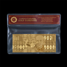 WR Mexico 1000 Pesos Gold Plated Banknote Collectible Gift Free PVC Sleeve