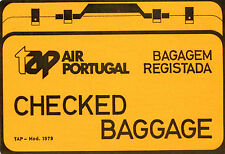 Vintage Airline Luggage Label TAP AIR PORTUGAL Checked Baggage neon orange