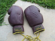 Vintage Wilson Boxing Gloves Leather-12 OZ-leather laces-man cave H1016